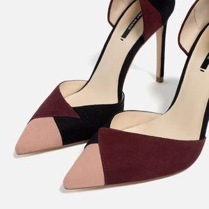 Zara suede color block combo heels Sz 40